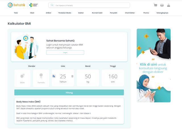 kalkulator BMI dari SehatQ